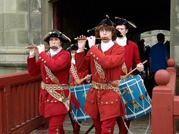 Soldiers marching from King's Bastion Fortress Louisbourg Nova Scotia