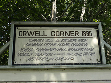 Entrance sign to Orwell Corner Museum