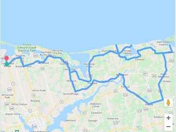 Tour route of Points East PEI