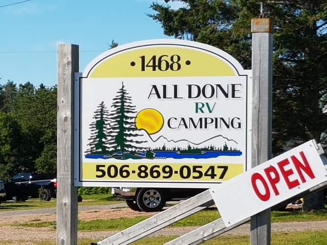 All Done Camping RV Campground Sign